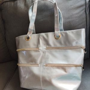 Silver tote bag vinyl look gold zippered pockets